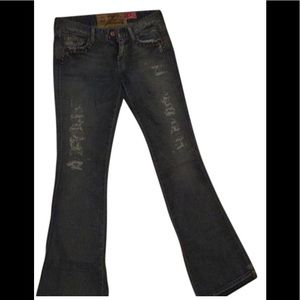 Seven for all mankind studded ripped boot jeans